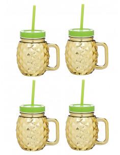 Set 4 gerres amb canyeta Pineapple | Kitchen Craft