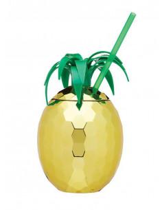 Set 4 gerres amb canyeta Gold Pineapple | Kitchen Craft