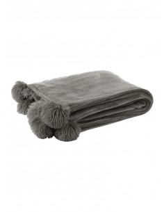 Manta gris amb pompons | J-line